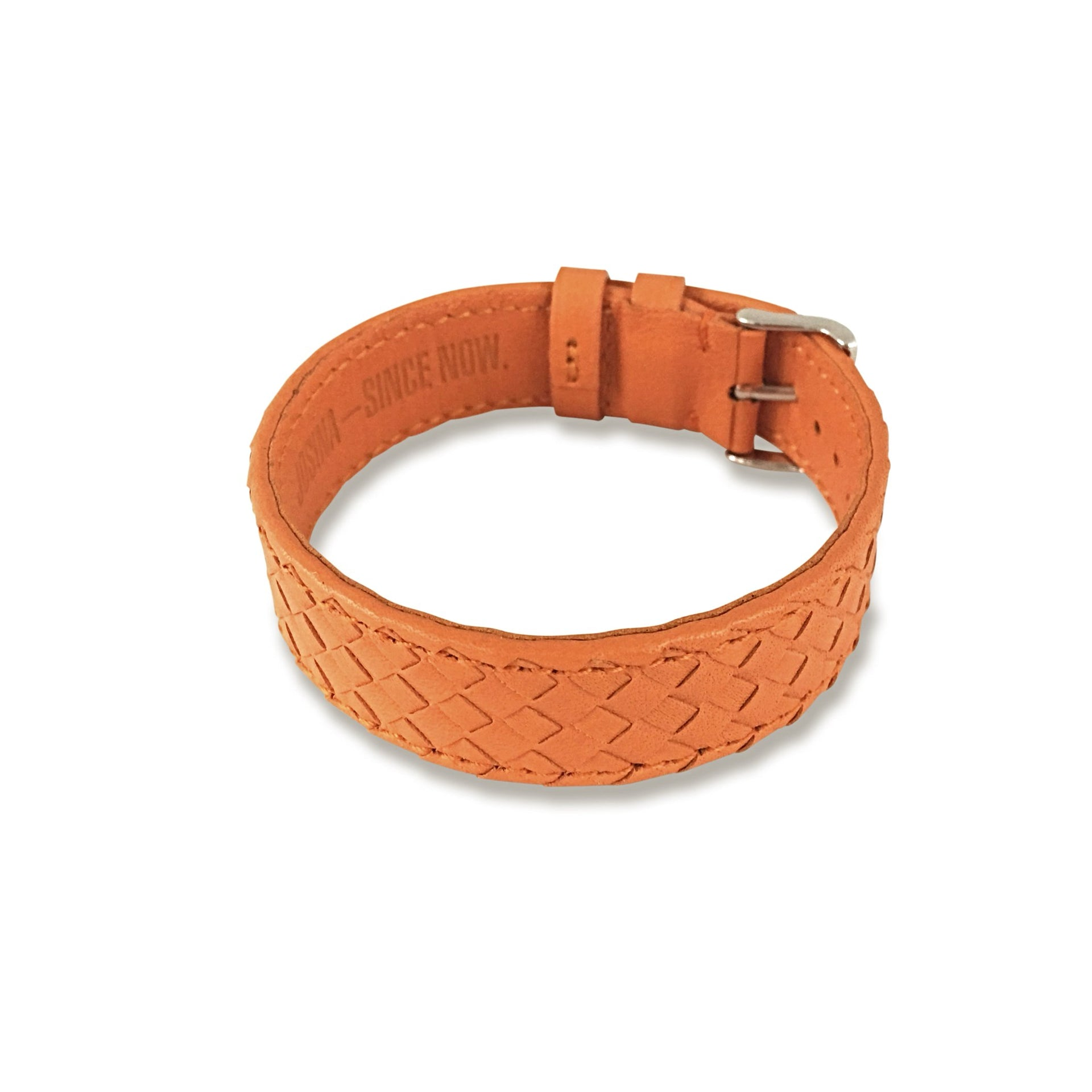 Embracelet woven Orange with 18k gold buckle