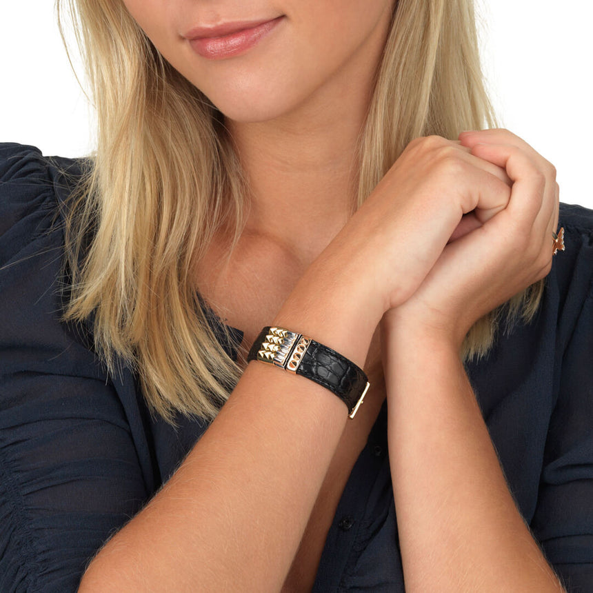 Embracelet Alligator black with 18k gold buckle