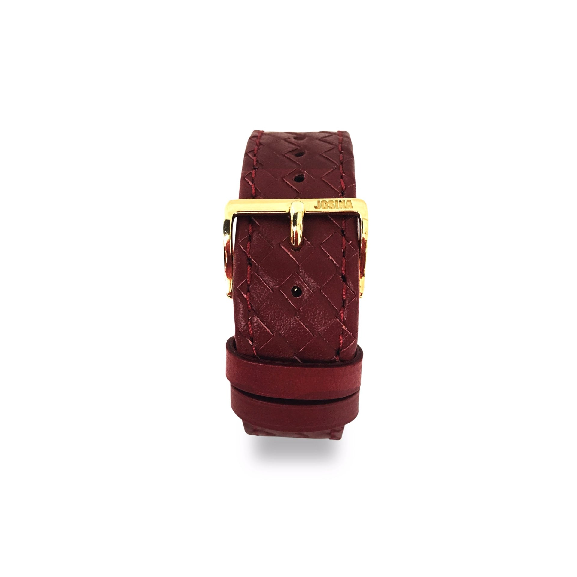 Embracelet woven Bordeaux with 18k gold buckle