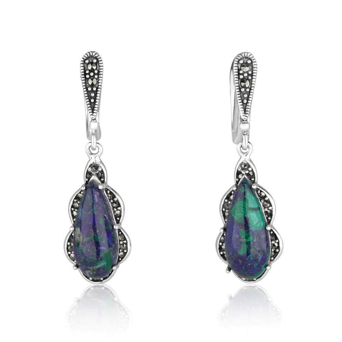 Eilat stone drop-shaped silver dangle earrings with Marcasite stones