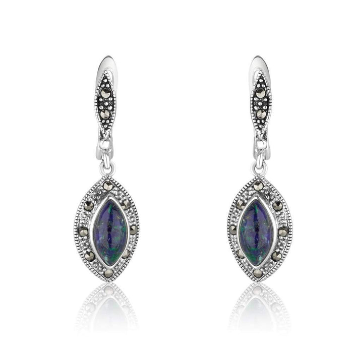 Eilat stone teardrop shape silver dangle earrings with Marcasite stones