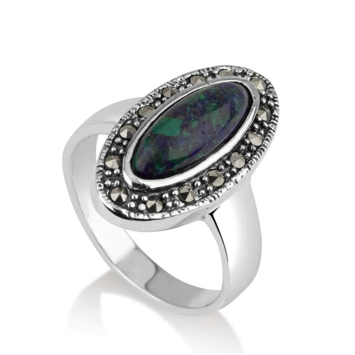 Silver oval Eilat stone is rounded beaded with Marcasite stones ring