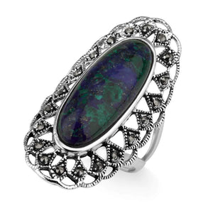 Sterling silver Eilat stone oval ring with filigree artwork and Marcasite stones
