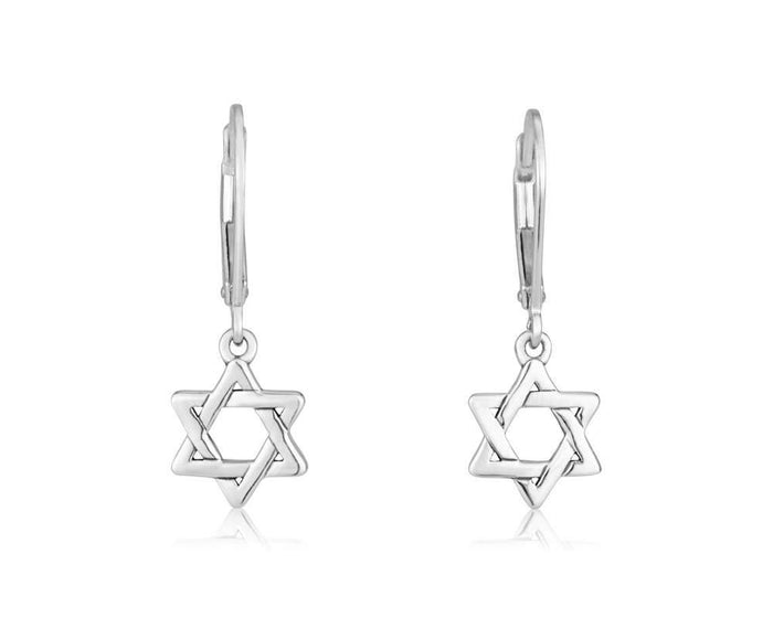 Earring Star of David long clasp in 925 Sterling silver