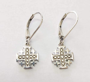 Jerusalem Cross Silver Hanging Loop Earrings made in the Holy Land