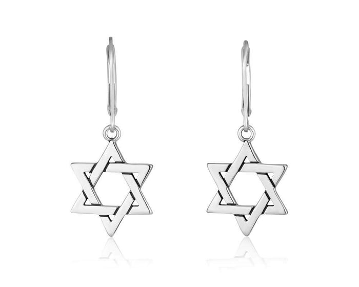 Earring long clasp Star of David in 925 Sterling silver