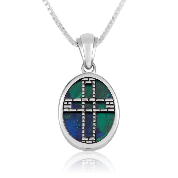Azurite Stone Cross Silver Pendant made in the Holy Land