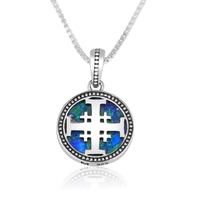 Sterling Silver Jerusalem Cross Pendant with Eilat stone