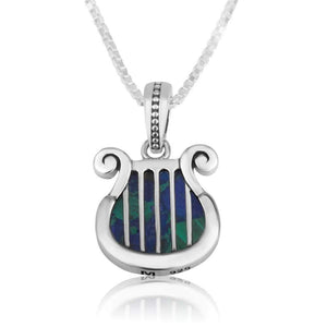 Sterling Silver Eilat Stone  David's Harp Necklace