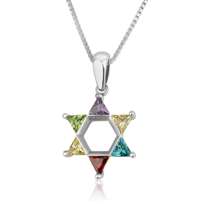 Star of David Sterling Silver Necklace - Multicolored