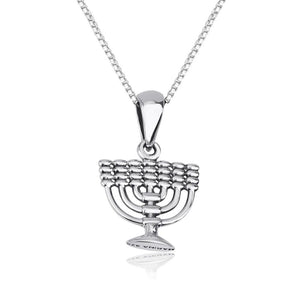 Silver Menorah Necklace