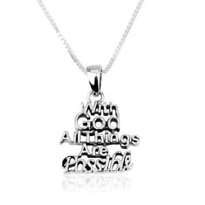 Sterling Silver All Things Are Possible Scripture Necklace (Matthew 19:26)