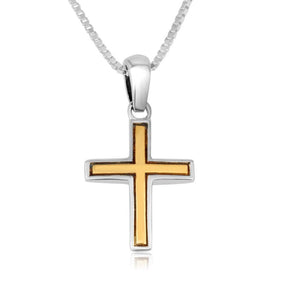 Trinity Cross Pendant Sterling Silver Gold plated - Made in the Holy Land