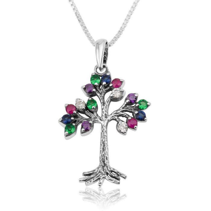 Sterling Silver 925 Mix of stones Tree Of Life Pendant