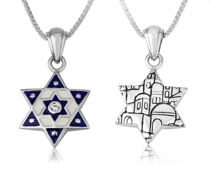 Sterling Silver 925 Blue enamel Star of david Pendant