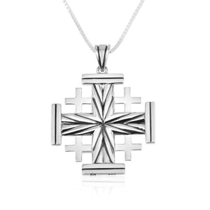 Textured Jerusalem Cross Silver Pendant made in the Holy Land