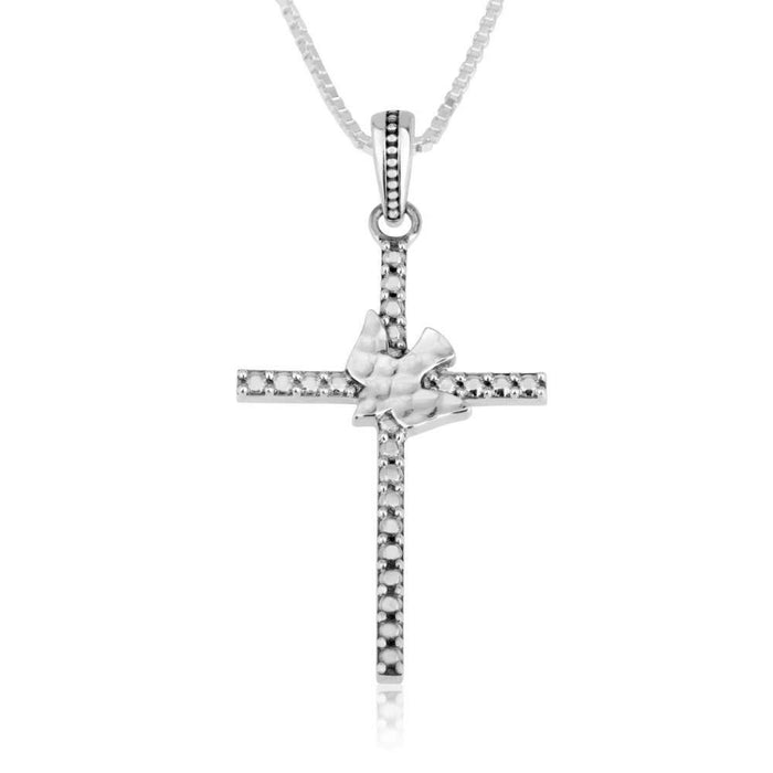 Sterling Silver Cross with Dove Pendant