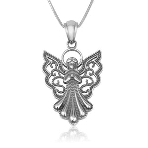 Silver Pendant  Filigree Angel made in the Holy Land