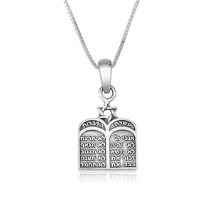 Sterling Silver 10 Commandments Necklace