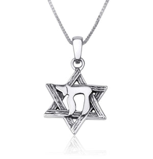 Sterling Silver Star of David - Chai Necklace