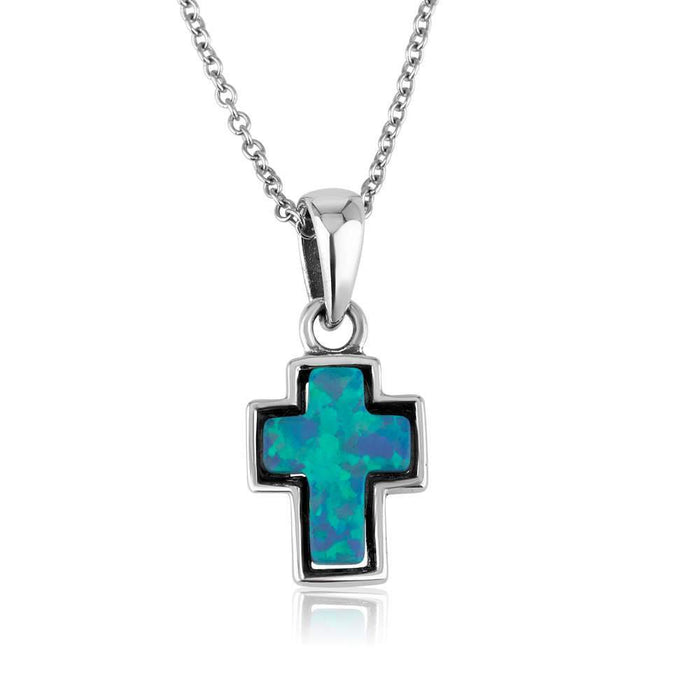 Sterling Silver Blue Opal Cross Pendant
