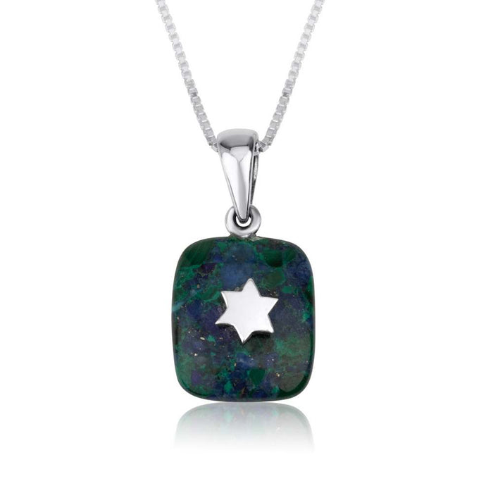Star of David Eilat Stone and Sterling Silver Necklace