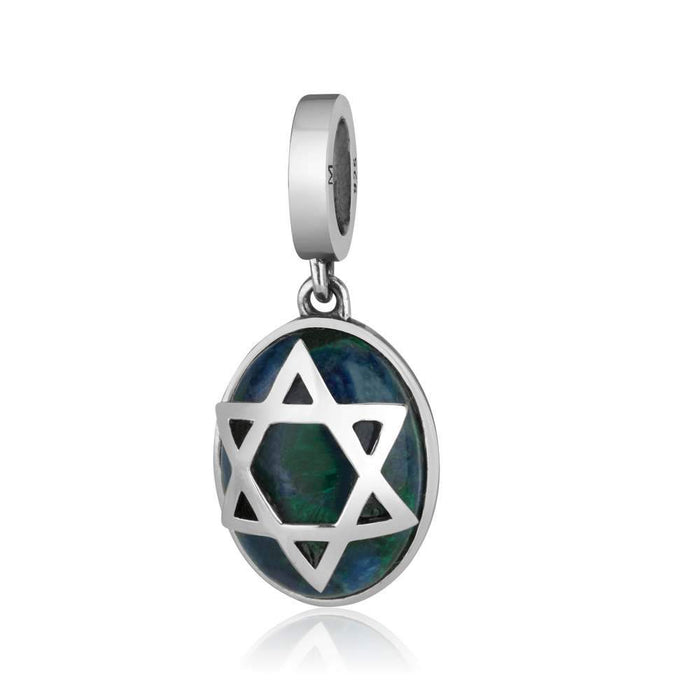 Sterling Silver 925 Azorite Star of david Hang Bead Charm