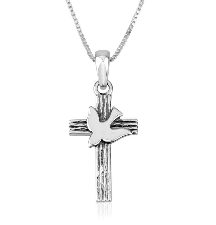 Genuine 925 Sterling Silver Chain Necklace and Cross with Dove Pendant Charm, 18 Inch Box Chain, by Marina Meiri. EAN 660042197153