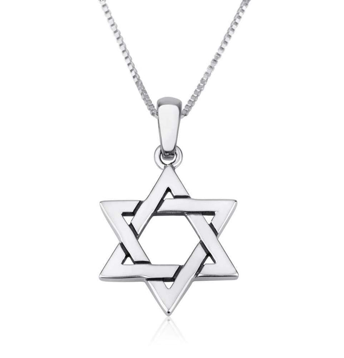 Genuine 925 Sterling Silver Chain Necklace with Star of David Pendant Charm, 18 Inch Box Chain, by Marina Meiri. EAN 660042197122
