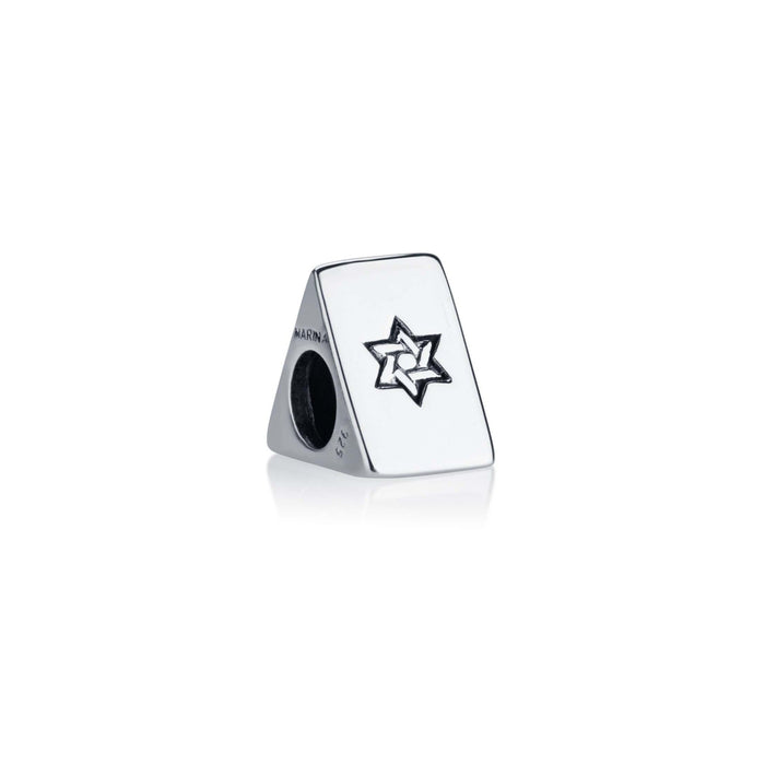 Messianic triangle shaped Charm bead in 925 Sterling silver with engraved Star of David, Messianic symbol and inscription JESHUA on each side of triangle