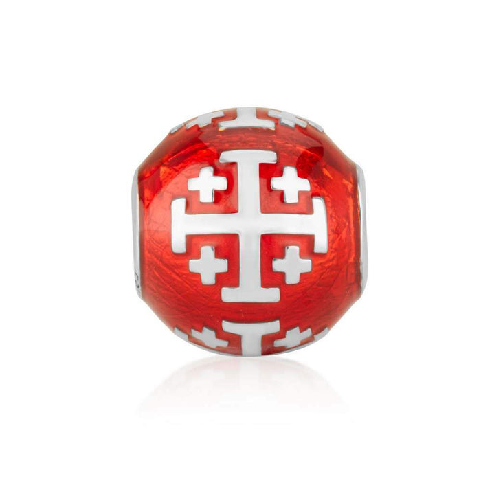 Sterling Silver and Red Enamel Jerusalem Cross  Bead Charm