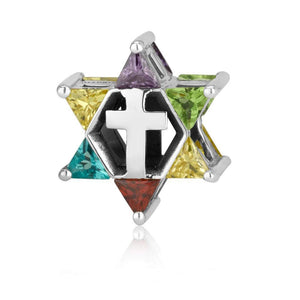 Star of David with Cross Bead Charm  Sterling Silver made in the Holy Land