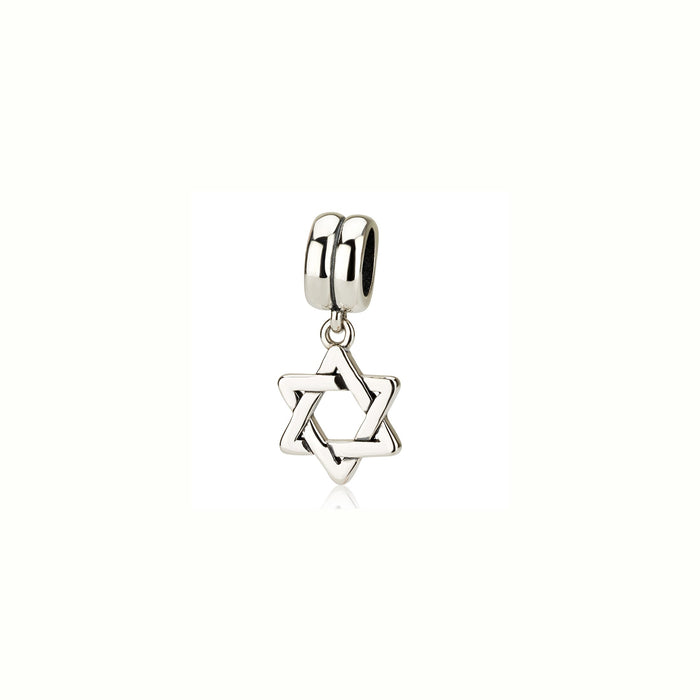 Sterling Silver 925  Star of david Hang Bead Charm