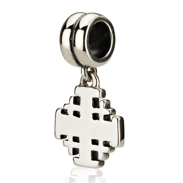 Sterling Silver Jerusalem Cross  Hang Bead Charm