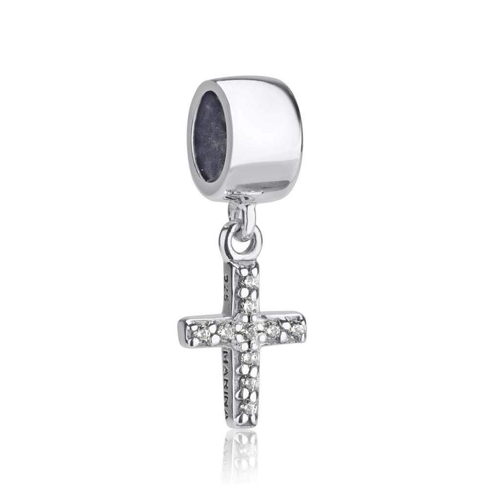 Sterling Silver and Cubic Zirconia Cross Hang Bead Charm