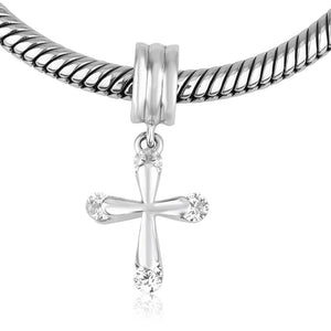 Sterling Silver Cross with Zircon stones Hang Bead Charm