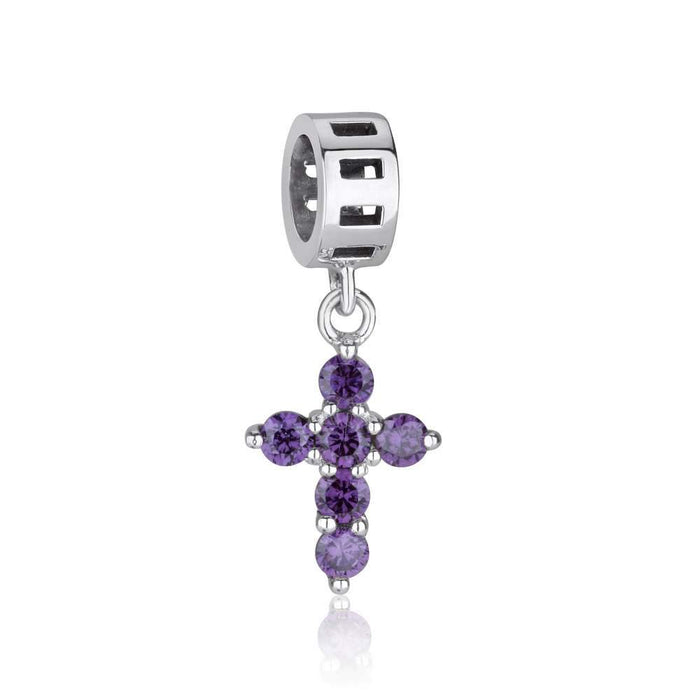 Sterling Silver Cross Hang Bead Charm With Amethyst