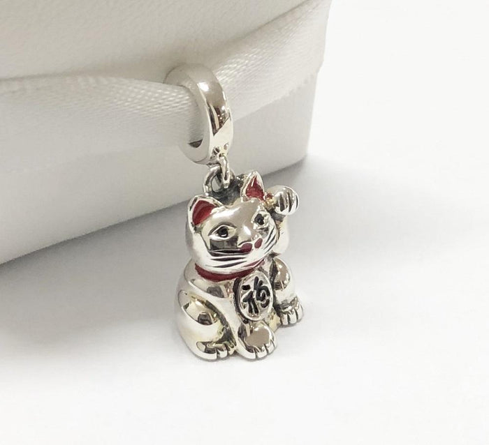 Lucky Cat Sterling Silver hanging charm made in the Holy Land