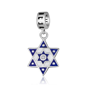 Sterling Silver 925 Blue enamel Star of david Hang Bead Charm