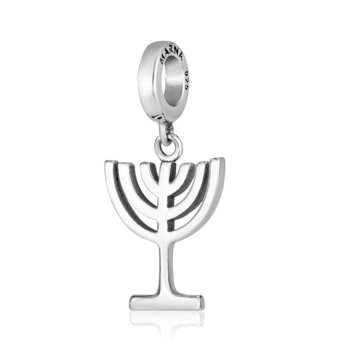 Sterling Silver 925  Menorah Hang Bead Charm