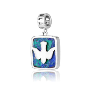 Sterling Silver Dove Hang Bead Charm with Eilat stone