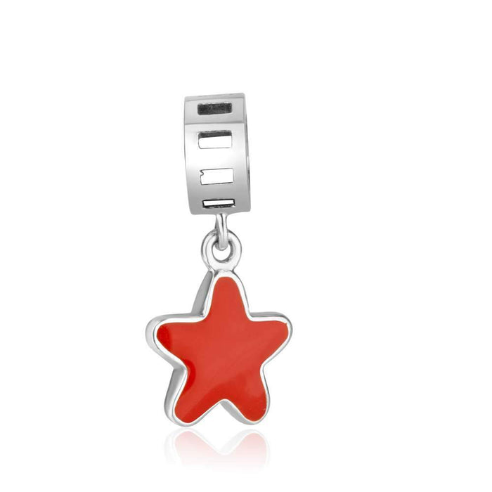 Star hanging charm with red enamel made from 925 Sterling Silver.
