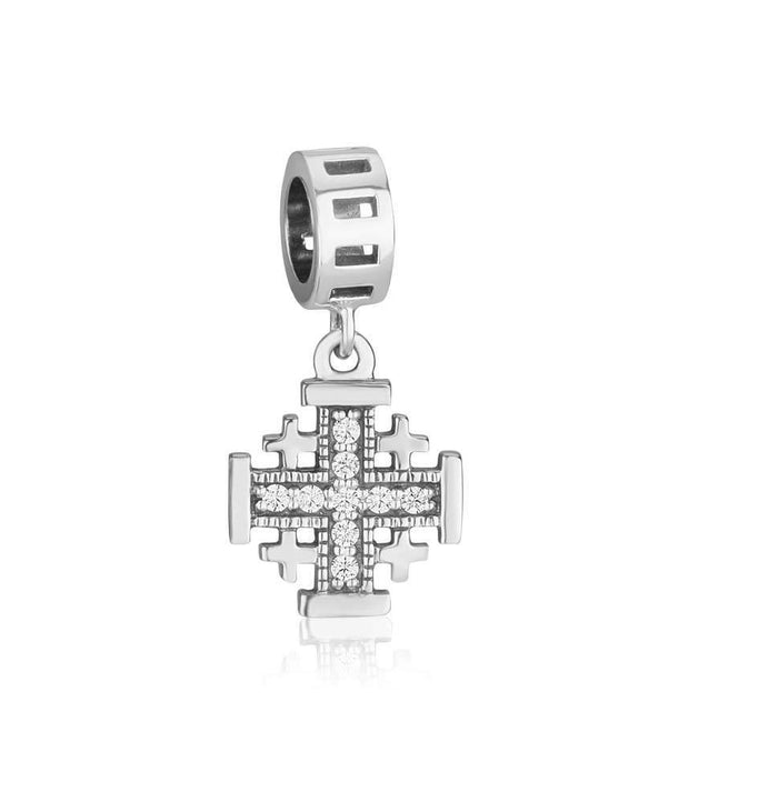 Sterling Silver Jerusalem Cross Zircon stones  Hang Bead Charm