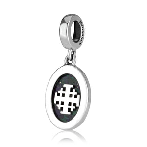 Jerusalem cross Hanging Bead Charm with Eilat stone from Sterling Silver  made in the Holy Land