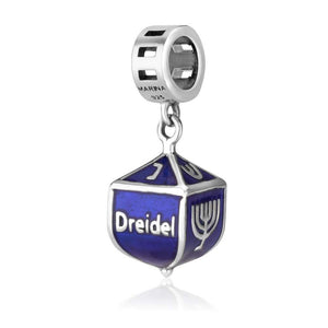 Sterling Silver 925 Blue enamel Judaica gifts Hang Bead Charm