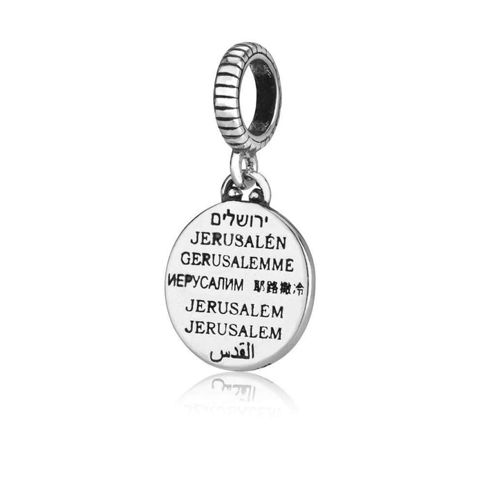 Sterling Silver Jerusalem in 8 Languages Circle Hang Bead Charm