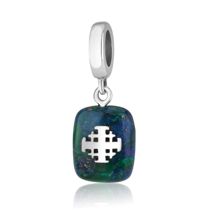 Jerusalem cross charm from Sterling silver with Azurite stone made in the Holy Land