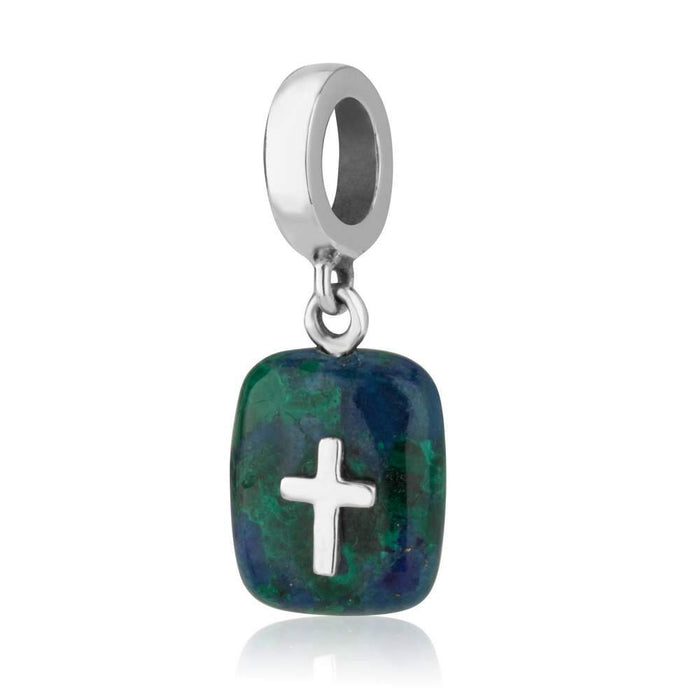 Sterling Silver and Eilat Stone Cross Hang Bead Charm