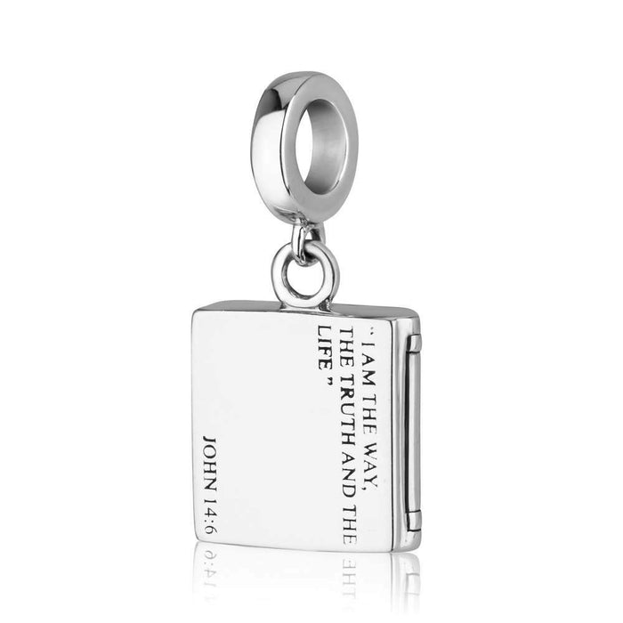 Blessing verse John 14:6 Charm in 925 Sterling silver made in the Holy Land