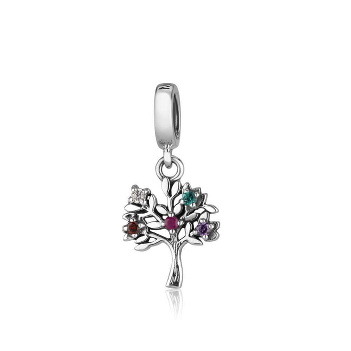 Sterling Silver 925 Mix of stones Tree Of Life Hang Bead Charm